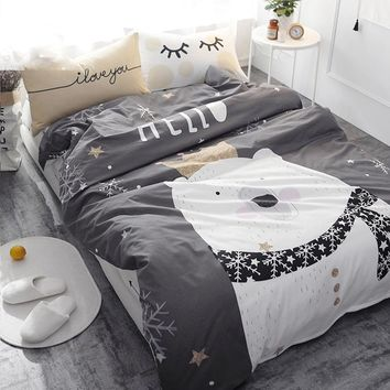 White Bear on Gray Printed Bedding Set Kids Bedspread Duvet Cover Cute 100% Cotton Bed Set With Flat Sheet 4Pcs