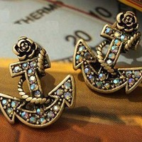 Fashion Rose Boat Anchor Stud Earring with Rhinestone Fashion Jewelry Birthday Gift,1 Pair