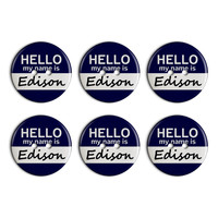 Edison Hello My Name Is Plastic Resin Button Set of 6