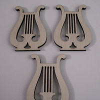 Lyre Wood Shapes, 3 PIECES, Laser Cut, Wood Ornaments, Sorority Crafts,Christmas