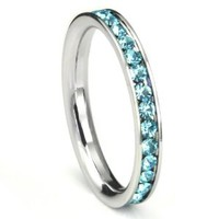 316L Stainless Steel Aquamarine Light Blue Cubic Zirconia CZ Eternity Wedding 3MM Band Ring Sz 6
