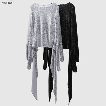 WISHBOP NEW 2018 Spring Luxury Designs Silver Sequined Blouse Round Neck Asymmetric Hem with BOW Long Slits Sleeves TOP BACK ZIP