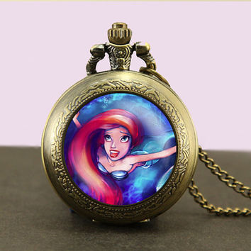 Little Mermaid Locket necklace,Princess Pocket Watch Necklace,fob watch locket necklace