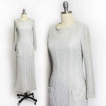 Vintage 1970s Dress - Victor Costa romantic Silver Lame Metallic Knit Full Length Maxi - Small