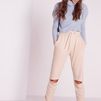 Missguided - Rip Knee Joggers Nude