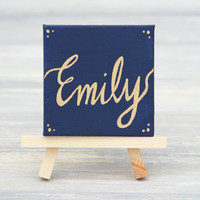 "Mini Canvas and Easel, Navy with Gold Name / Personalized Stocking Stuffer / Unique Place Card / 3"" x 3"" Canvas"