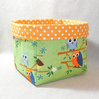 Cute Green and Orange Owl Themed Fabric Basket