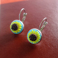 sunflower polymer clay earrings,floral earrings,ready to ship jewelry,cameo earrings,spring earrings,summer earrings,filigree,gift for mom