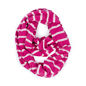 Pink Peony Stripe Infinity Breast Feeding Scarf & Cover