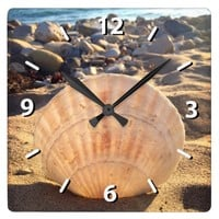 Chic stylish California sandy beach seashell photo Square Wall Clock