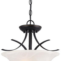 Pacific Falls Two-Light Indoor Convertible Pendant, Semi-Flush Ceiling Fixture Amber Bronze Finish with White Alabaster Glass