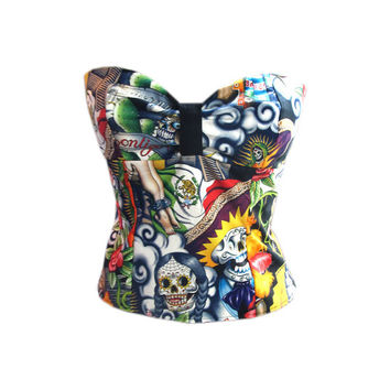 Custom Rockabilly Halter Top Pin Up Top Retro Top Cami Top Day of the Dead Tattoo Top