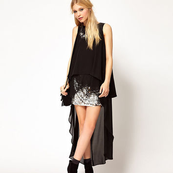 Black High-Low Sleeveless Back Slit Chiffon  Dress