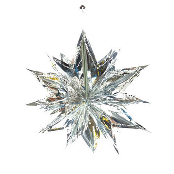 Metallic Foil Hanging Decor, 13-inch, Moravian Star, Silver