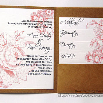 Pocketfold Wedding Invitation Suite - Vintage Inspired Romantic Floral - Sample Pack - Free Shipping