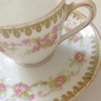 Antique Bone China Schwarzburg Demitasse Teacup and Saucer Tea Party Little Princess Birthday Party