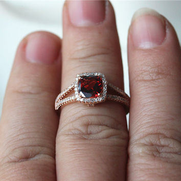 January BirthstoneCushion Cut 7mmNatural Red Garnet Ring 14K Rose Gold Pave Diamonds Engagement Ring/ Wedding Ring/ Anniversary Ring/Jewelry