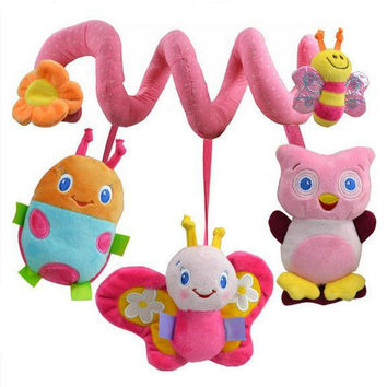 Happy Monkey Newborn Infant Soft Plush Toys Baby Crib Hanging Toys Stroller Playing Toy Car Lathe Music Hanging Rattles KF985