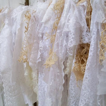 Wedding white fabric garland all lace eyelet some beige crochet tattered torn decoration Anita Spero