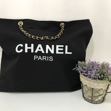 Chanel VIP Shopper Canvas Gift Tote Bag GHW Gold Hardware Beauty Shoulder Beach