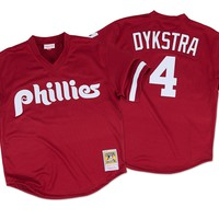 Mitchell & Ness Lenny Dykstra 1991 Authentic Mesh BP Jersey Philadelphia Phillies