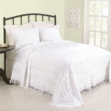 King size 100-percent Cotton Bedspread with White Floral Trellis Chenille and Fringe Border