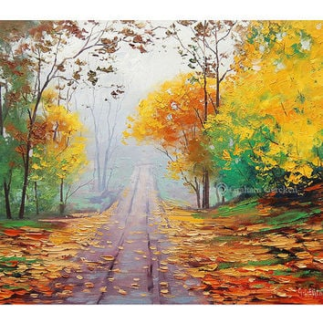 AUTUMN FALL PAINTING  road yellow trees art misty landscape Impressionist Trees Painting Graham gercken