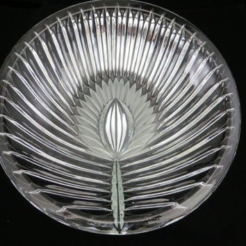 Art Glass Centerpiece Bowl - Wheat, Leaf, Frosted