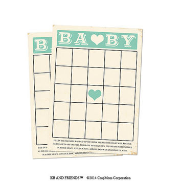 "Digital Baby Shower Bingo Cards/ green retro baby neutral / 5"" by 7"" / downloadable / printable / DIY / baby shower party supplies"