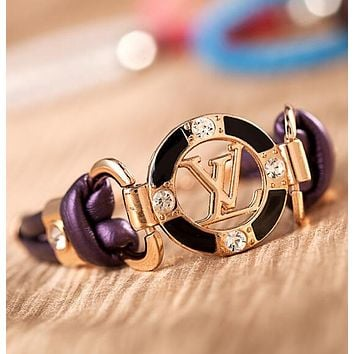 LV Louis Vuitton Newest Stylish Women Men Simple Letter Circular Diamond Hand Catenary Bracelet Jewelry Accessories Purple