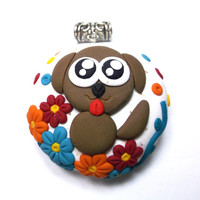 A Puppy In The Garden Pendant - Handmade of Polymer Clay