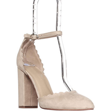 Marc Fisher Sahar Ankle Strap Dress Heels - Light Natural Suede