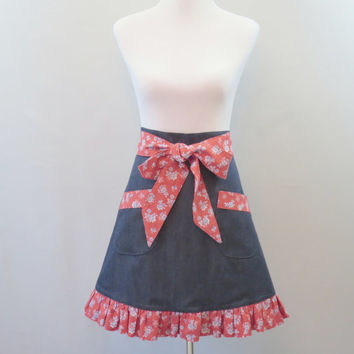 Womens Denim Half Apron, Red Floral,  Ruffled, Hostess Apron, Lined, Cotton, Bridal Shower, Birthday Gift for Mom, Wife, Girlfriend, Friend