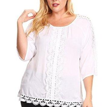 Colette Womens Plus Lace Eyelet Pattern 34 Sleeve Blouse Tunic 1 X 2X 3X