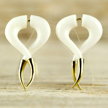 Fake Gauges Earrings Twist Spiral Earrings with Golden Tip  Tribal Style White Bone Organic - FG075B YB G1