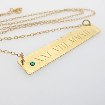 Roman Numeral Necklace / Personalized Rectangle Bar 14K Gold Filled Pendant / New Mom Gift