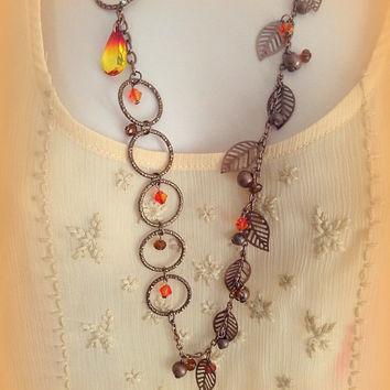 Handmade Asymmetrical Swarovski Crystal Necklace and Earrings in Earthtone colors, Gift for her, Bohemian Jewelry, Trending Women's Jewelry