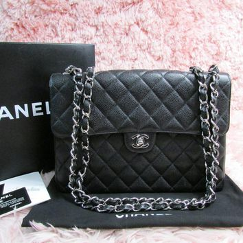 Auth 2000 Vintage CHANEL 2.55 Black Caviar Jumbo Single Flap Bag Silver HW