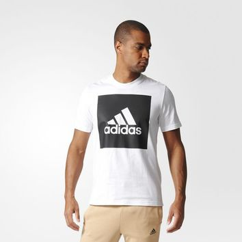 adidas Essentials Box Logo Tee - White | adidas UK