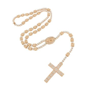 Lab Diamond Rosary Rose Gold Finish Necklace