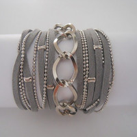Boho Chic 5X Wrap Bracelet with Grey Suede cord and Nickel Chains.