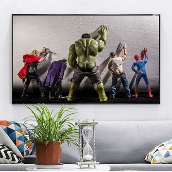 The Avengers USA movie Hulk in toilet Quotes Black White Poster Nordic Kids Room Wall Art Home Decor Canvas Painting cuadro