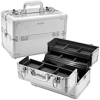 "SEPHORA COLLECTION Embossed Traincase – Silver Faux Croc (14 x 8.5 x 9"")"