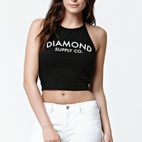 Diamond Supply Co Dahlia Cropped Halter Tank Top - Womens Tee - Black