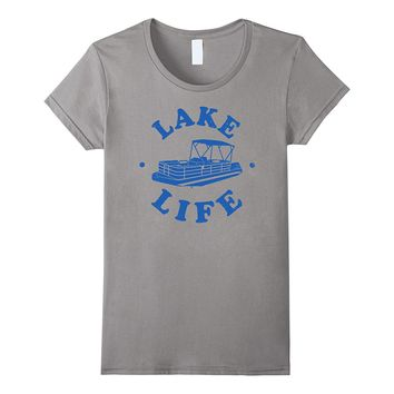 Pontoon Shirt: Lake Life Pontooning T-Shirt- Blue Print