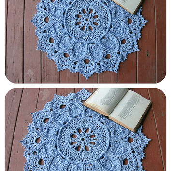 Crochet doily rug Blue round rug 23 inches Crochet decor Blue home decor Relief carpet Hard rug Massage rug