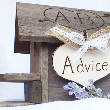 Wedding Advice Box Birdhouse - Advice For The Bride And Groom -Barn Wedding, Burlap Wedding Decor