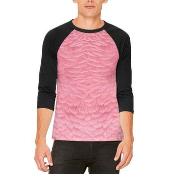 ONETOW Halloween Pink Flamingo Costume Mens Raglan T Shirt