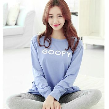 The new autumn and winter pajamas female casual long-sleeved nightgown girls casual wear autumn blue monogram