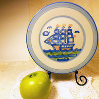 M A Hadley Schooner Ship Lunch Plate, Nautical Theme Stoneware, Clipper, Hand-painted American Pottery, Mary Alice Hadley, Blue cream plate